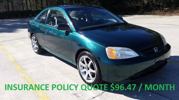 AAA Insurance Rate Quote For 2001 HONDA CIVIC DX 2WD SEDAN 4 DOOR - 1.7L L4  PFI SOHC 16V NP $96.47 Per Month 9418033